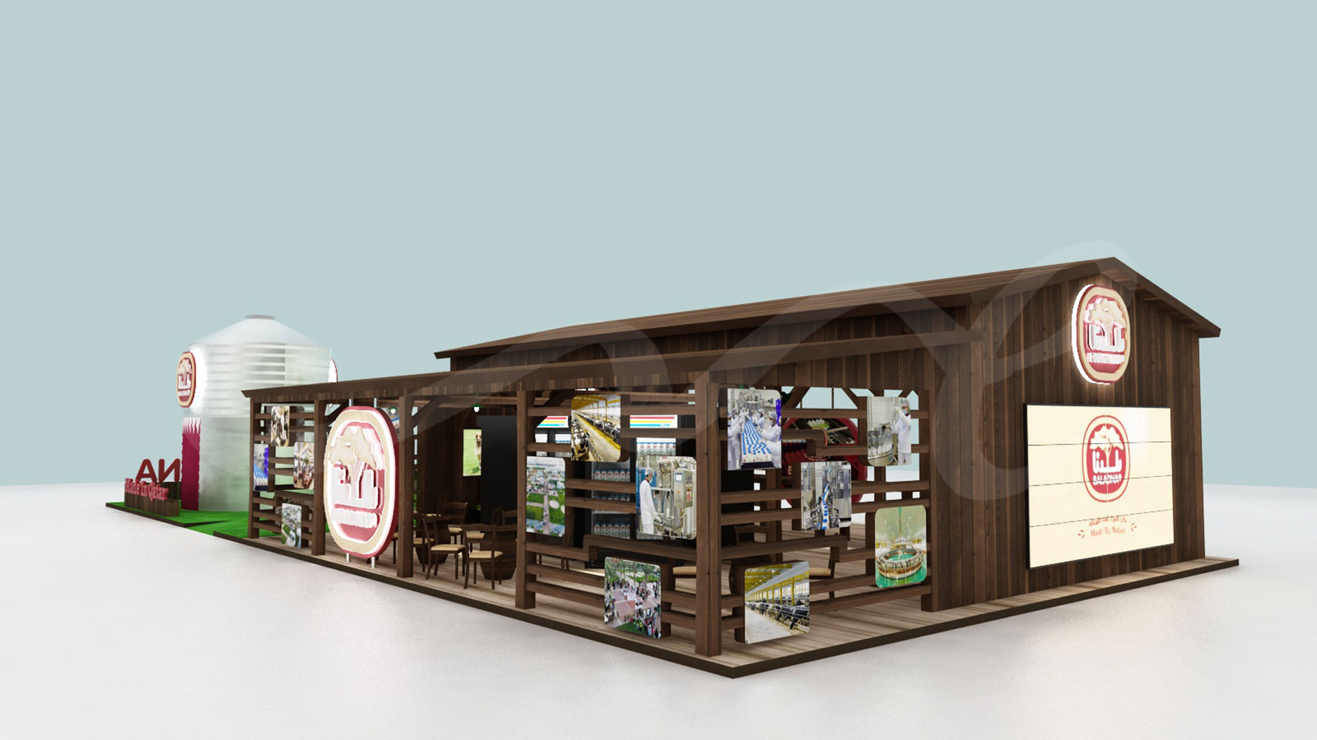 Side view of Baladna Exhibition Stand 3D Design by ME Visual for Agriteq 2019