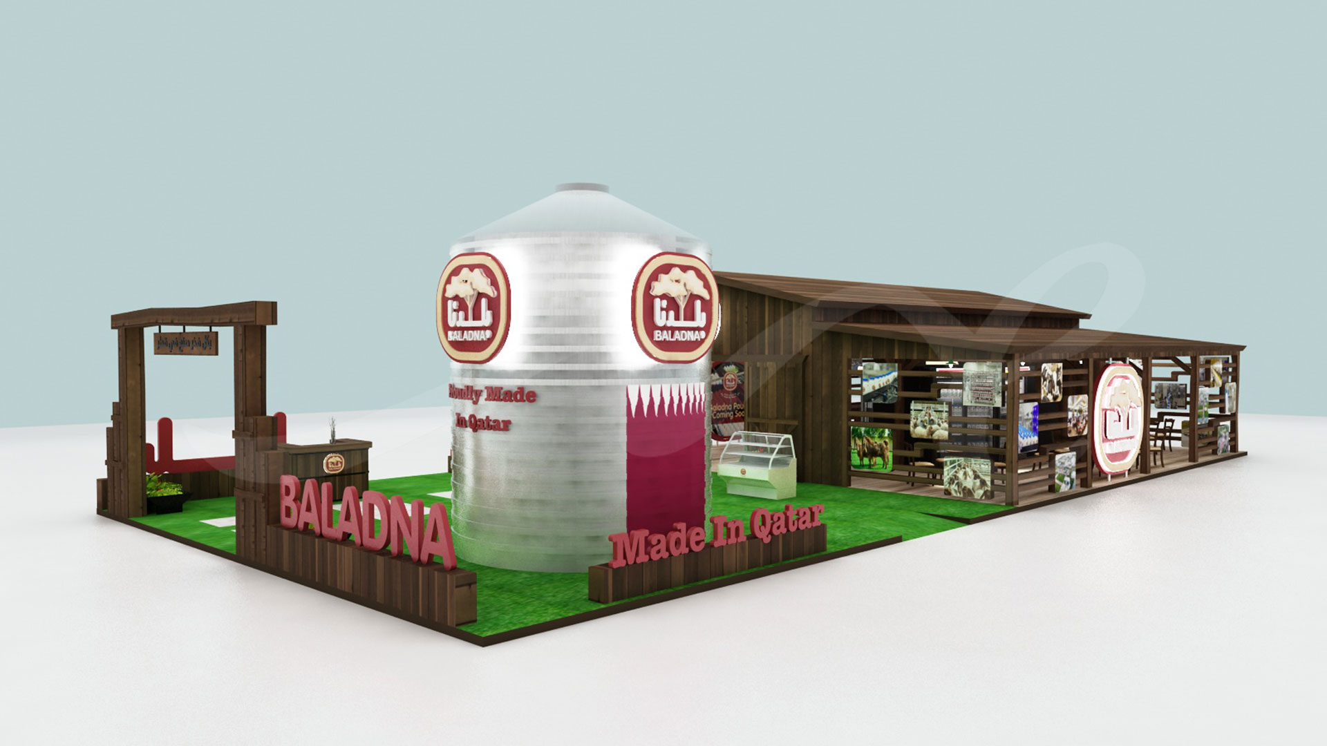 Baladna Exhibition Stand 3D Design by ME Visual for Agriteq 2019 featuring a custom made Silo