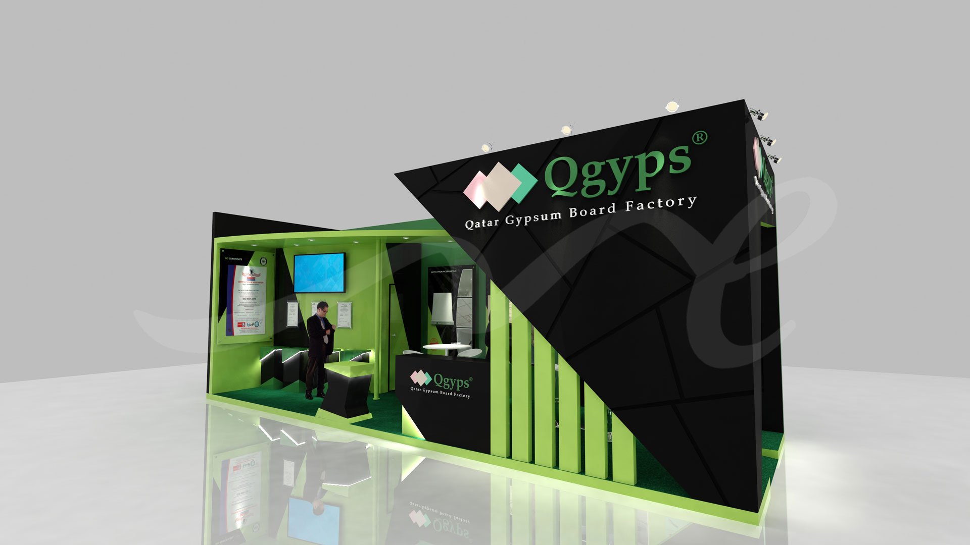 3D Design for Qatar Gypsum Board Factory stand by ME Visual