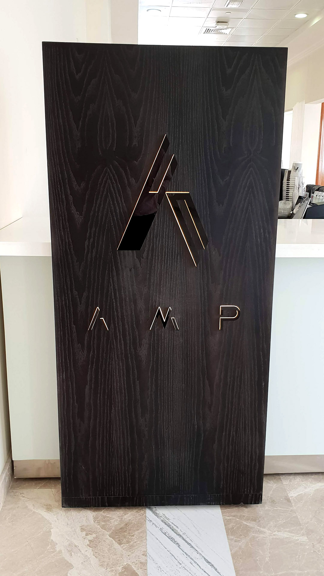 A custom Coffee Kiosk for AMP Coffee designed, fabricated and installed by ME Visual, Qatar