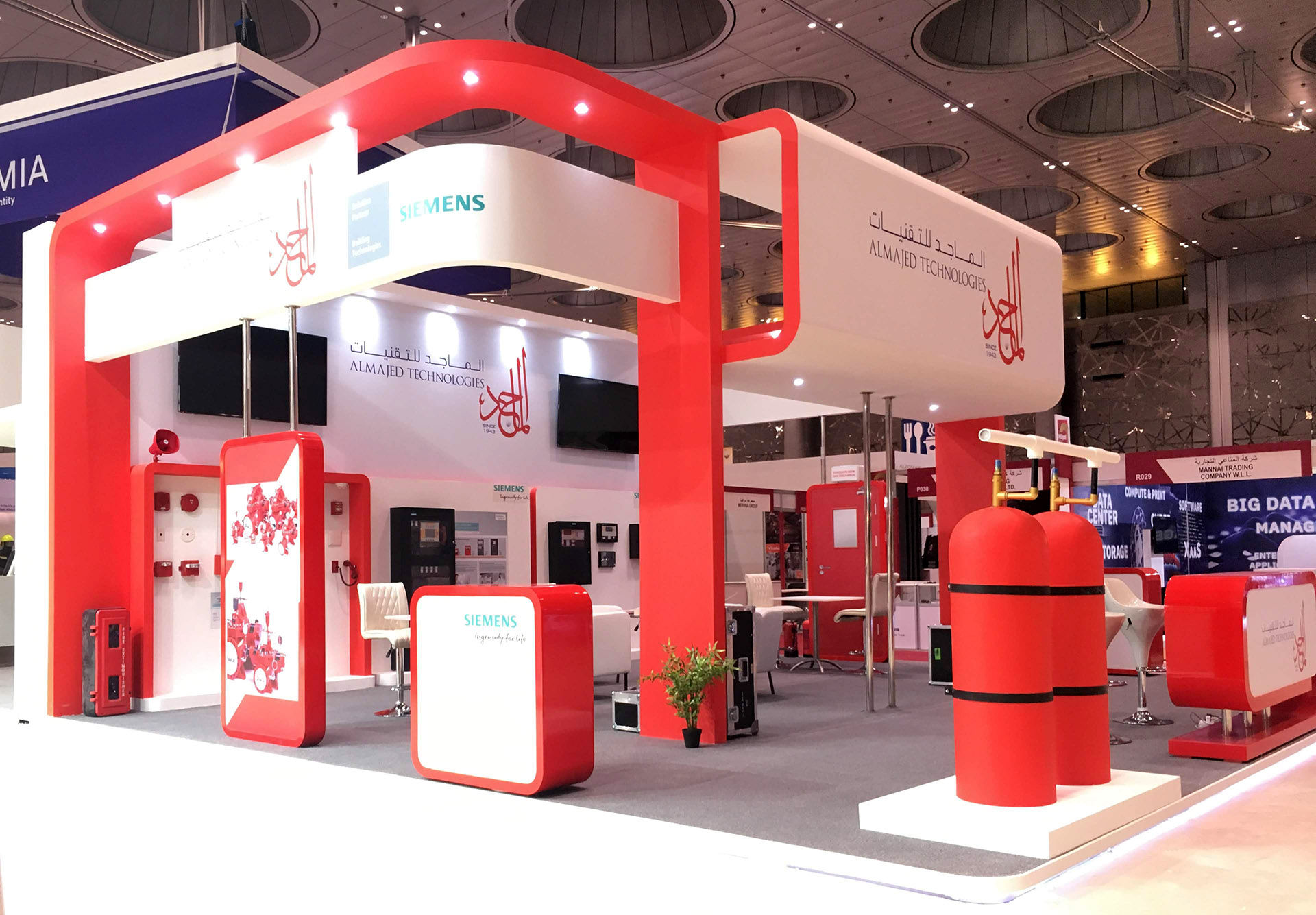 Exhibition Stand for Al Majed Technologies at Milipol 2018 designed, fabricated and installed by ME Visual, Qatar