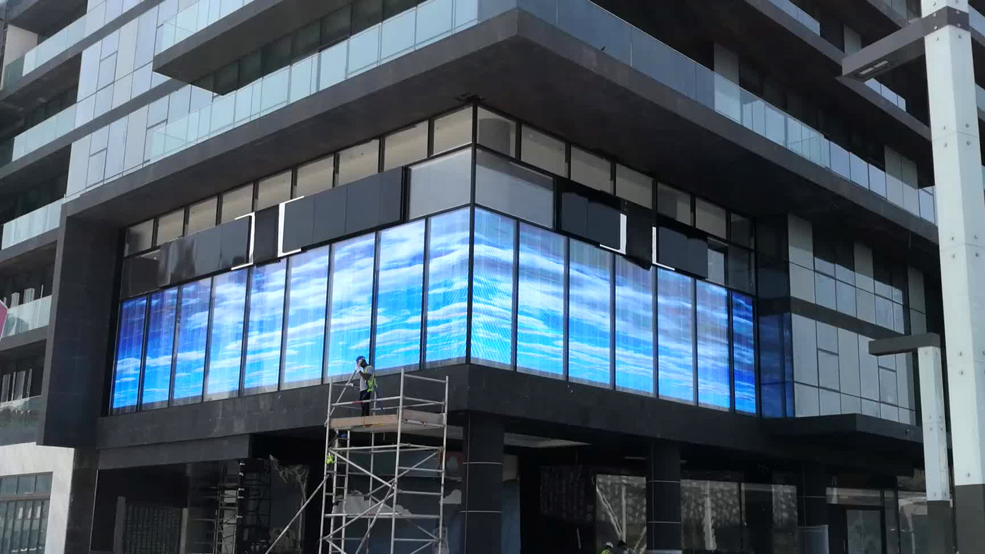LED Curtain Video Wall - perfect for windows or other areas requiring transparency.