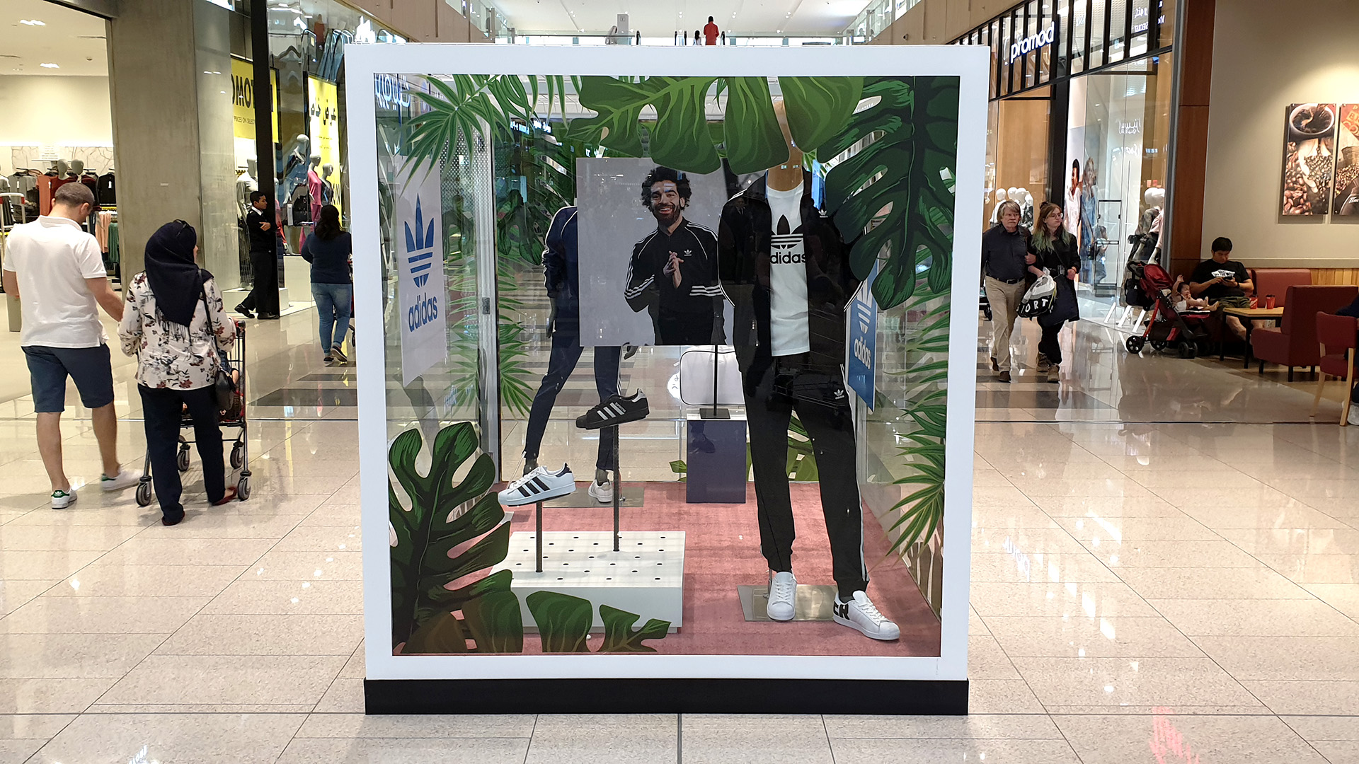 Custom fabricated Window Display Boxes for Doha Festival City made from Steel and Glass by ME Visual. This example features an Adidas campaign including Mohamed Salah