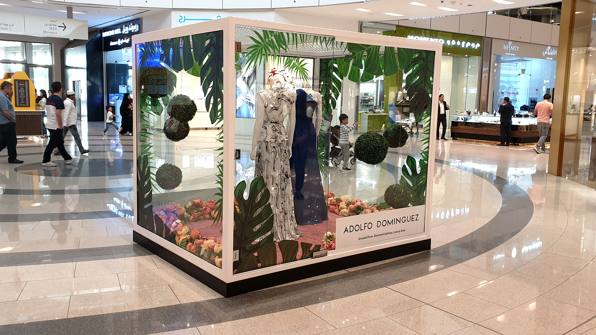 Custom fabricated Window Display Boxes for Doha Festival City made from Steel and Glass by ME Visual