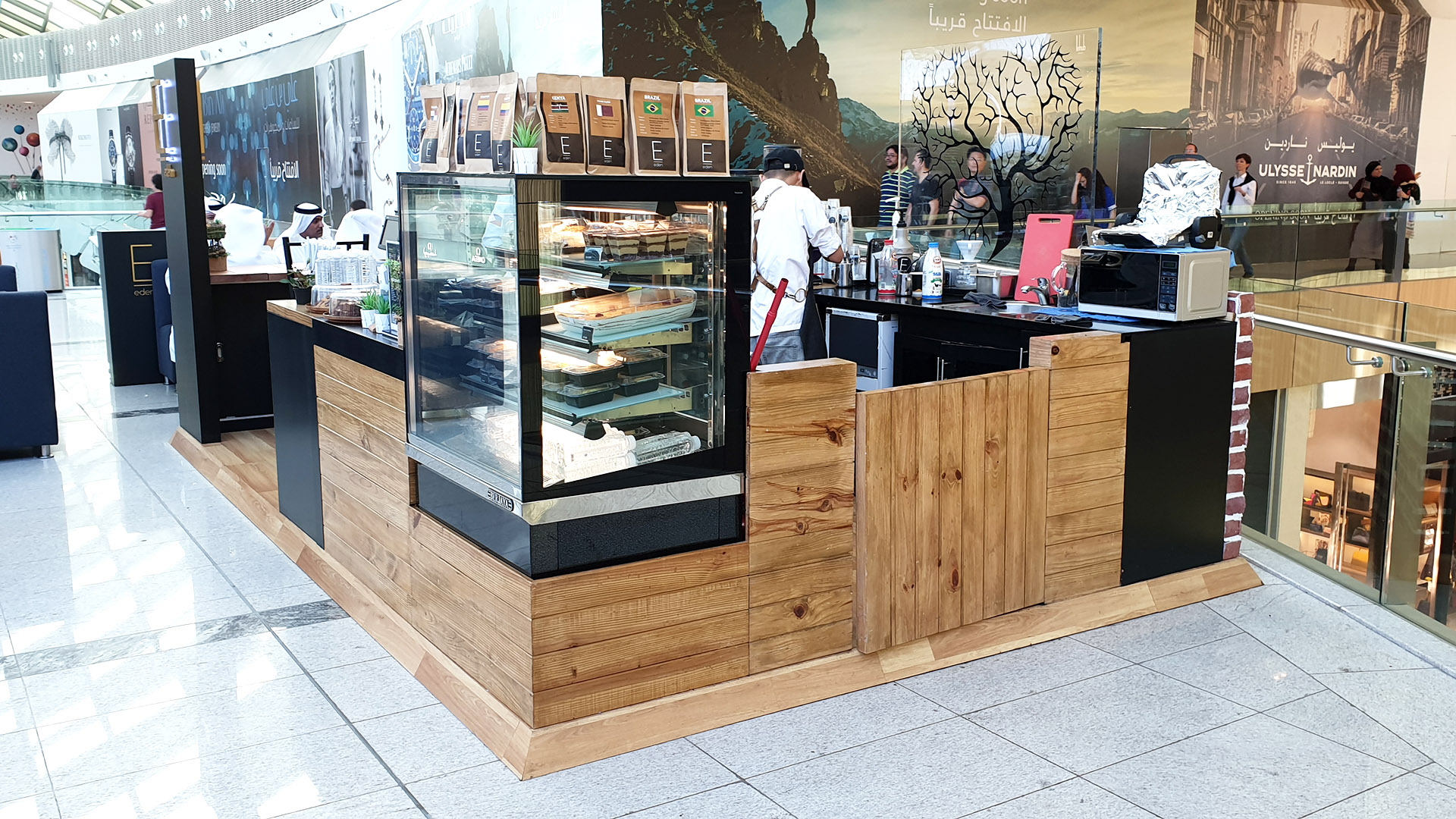 Eden Cafe Kiosk and Furniture custom fabricated from Timber and Steel by ME Visual, Qatar