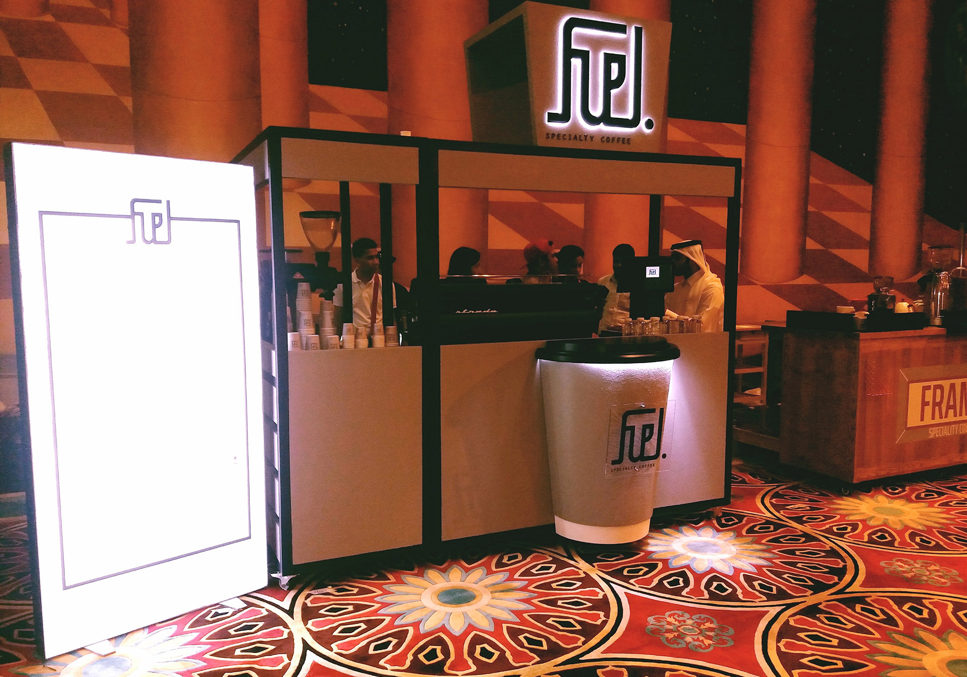 A custom Coffee Kiosk for Fuel Coffee designed, fabricated and installed by ME Visual, Qatar
