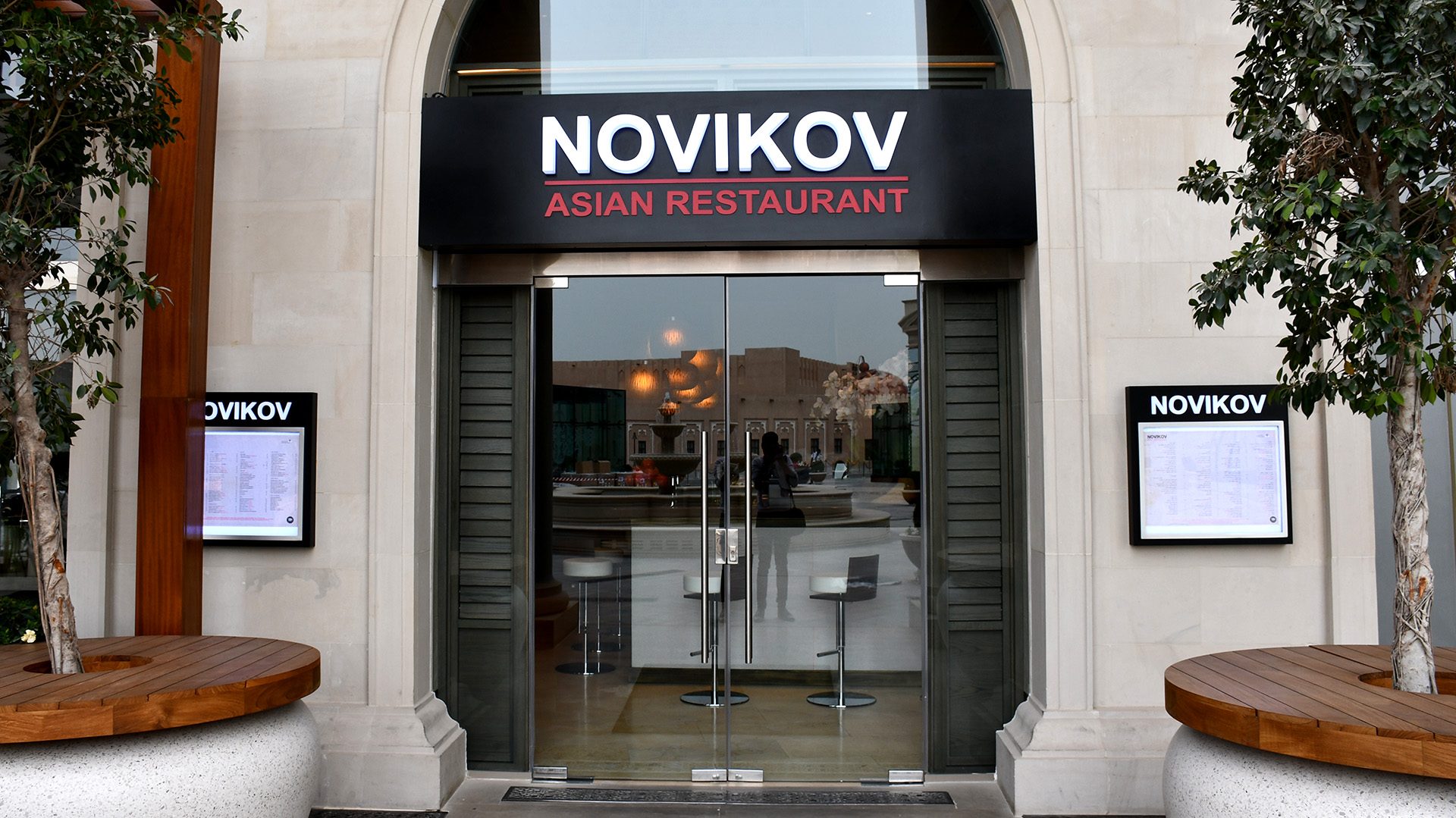 LED Lit Push Through shopfront signage for Novikov Asian Restaurant in Katara, fabricated and installed by ME Visual, Qatar