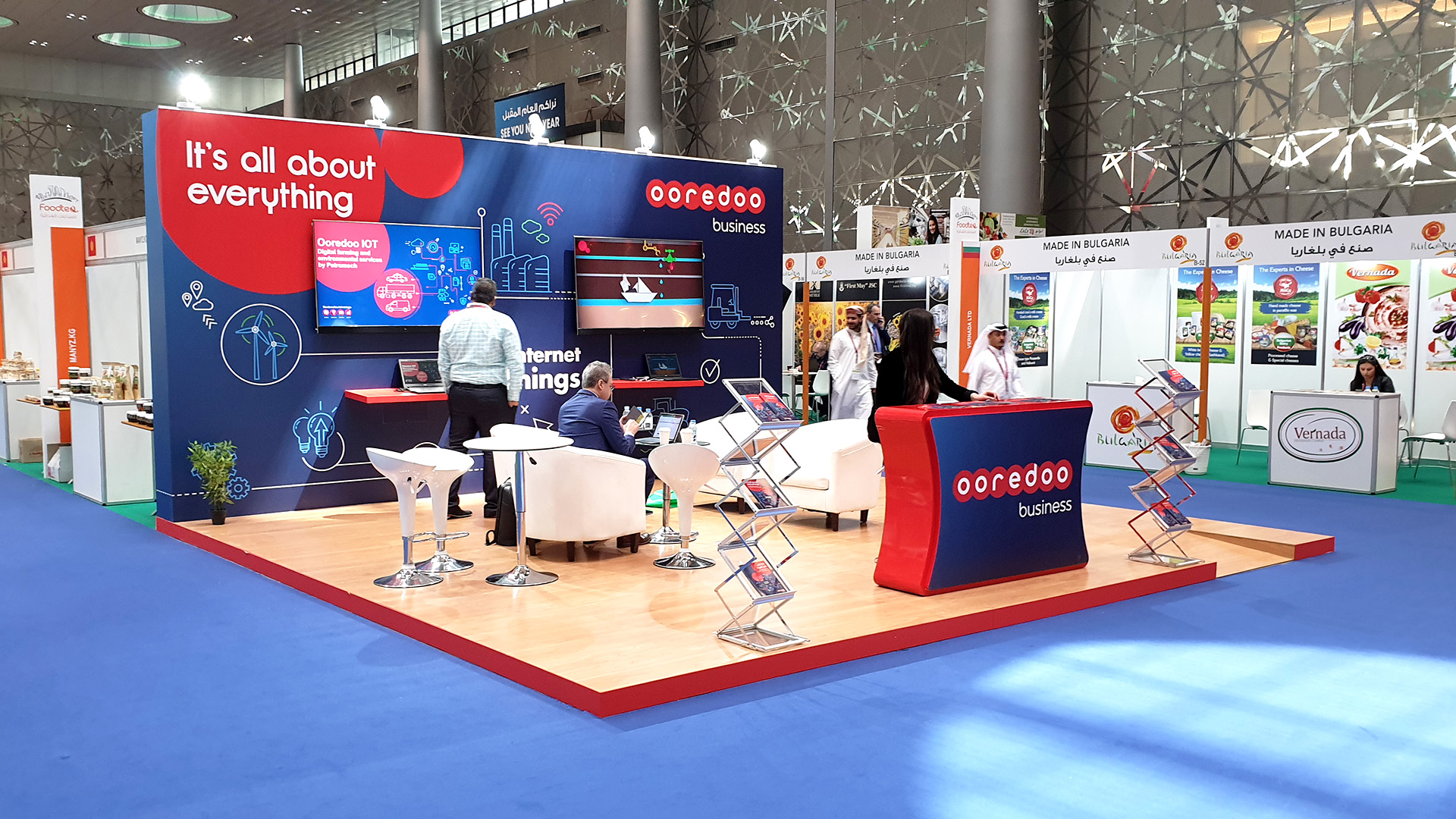 Ooredoo Exhibition Stand at Agriteq 2019 fabricated and installed by ME Visual, Qatar