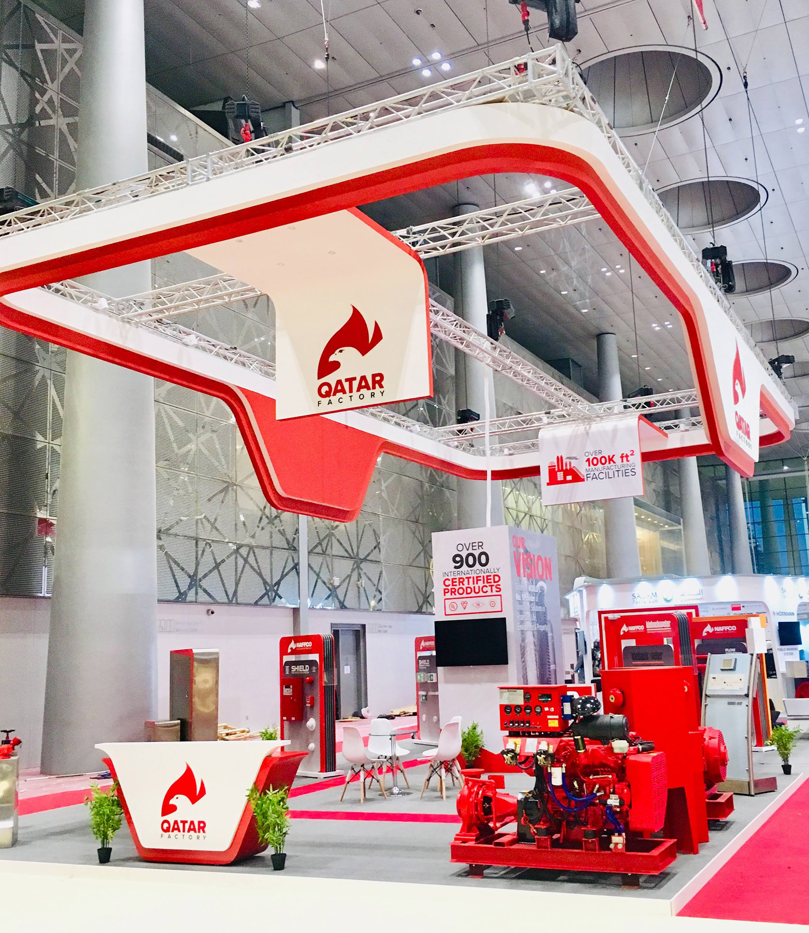 A stunning exhibition stand for Qatar Factory - designed, fabricated and installed by ME Visual, Qatar