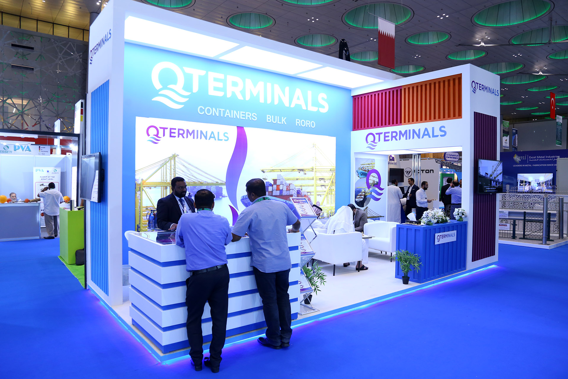 Award winning exhibition stand for QTerminals at Project Qatar, designed and fabricated by ME Visual