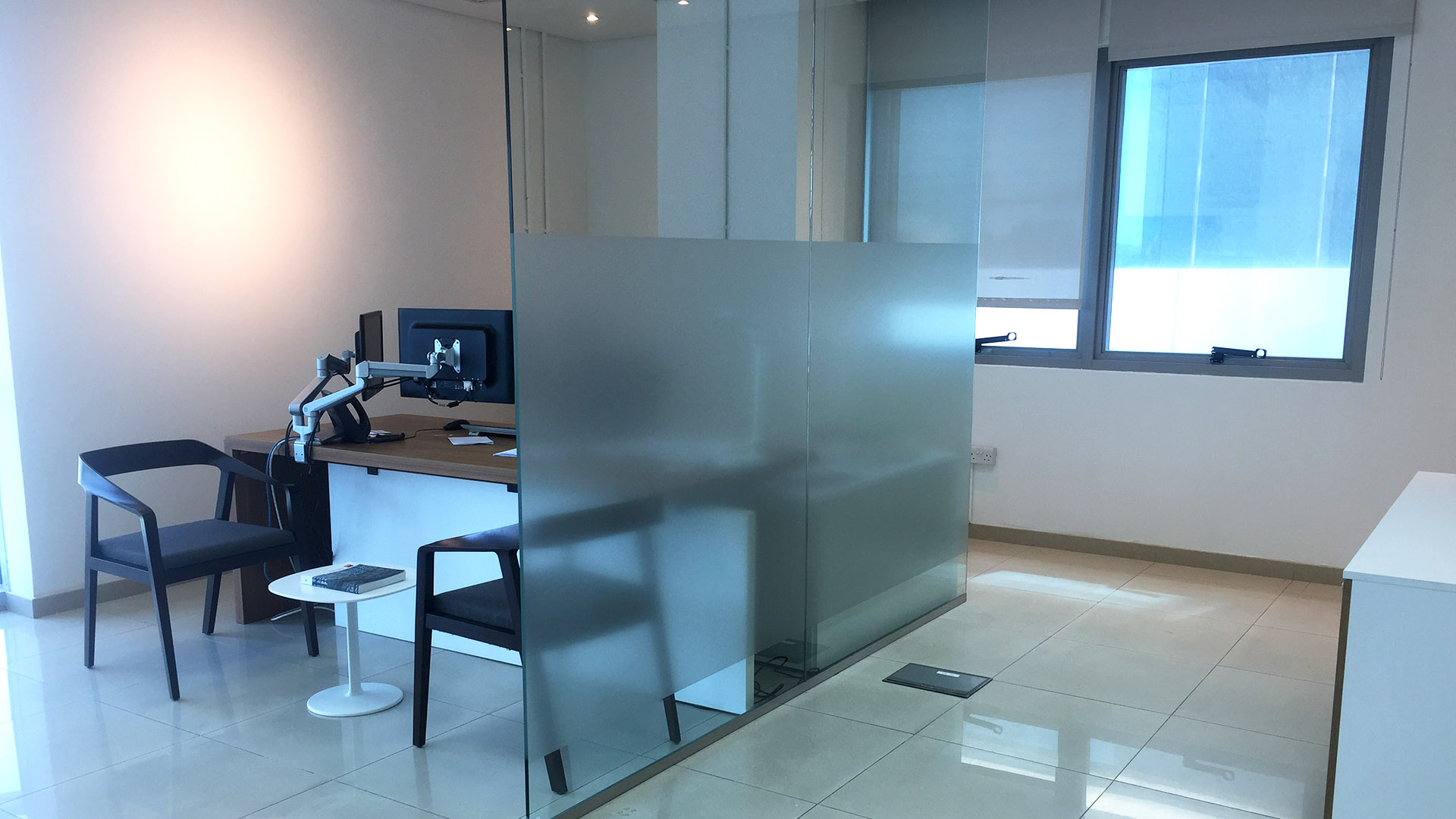 3M Fasara Frosted Vinyl for privacy glass at Hamad Hospital, Qatar. Installed by ME Visual